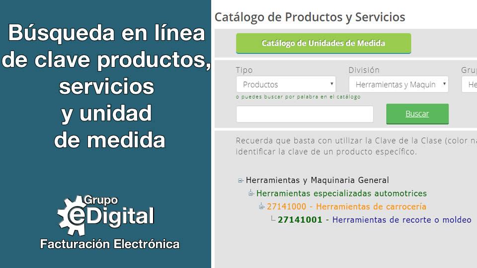 Búsqueda en línea de clave productos, servicios y unidad de medida ...